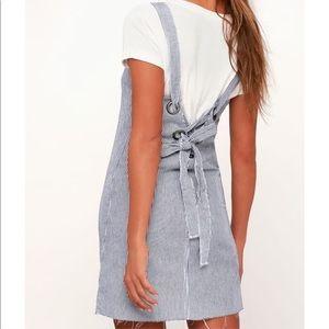 RVCA LACE-UP DENIM PINAFORE DRESS